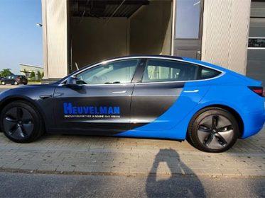Autobelettering IJsselstein - Tesla 3 Firma Heuvelman