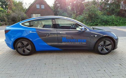 Tesla 3 Firma Heuvelman - Autobelettering Kemker